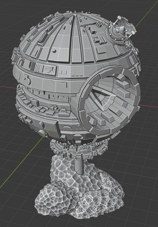 Spherical space station with missile silo inspired by the Borg and the Death Star (Mystic Pigeon Gaming)