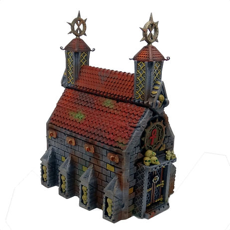 Church/Crypt terrain made by Mystic Pigeon Gaming