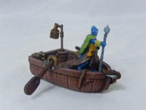 Miniature row boat with oars and lantern poles (28 mm scale)