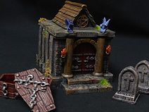Graveyard crypt terrain building with removable walls and roof