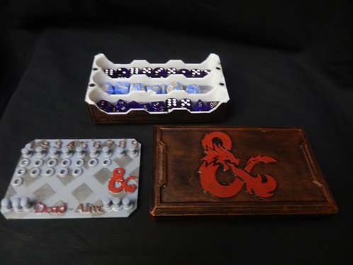Dice box, Dice rolling tray with optional D&D5E spell tracker card