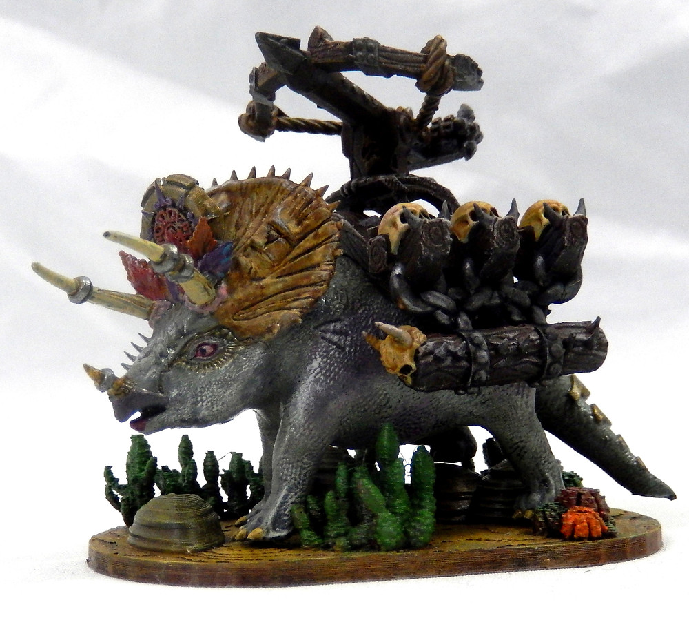 Siege Triceratops with harness resin miniature
