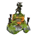 Buy Ancient ruined statue with torches wargame/tabletop terrain from Mystic Piegon Gaming