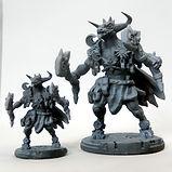 Minotaur sun and moon guardian resin miniature