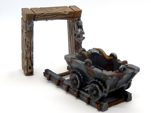 Mine cart track and entrance resin miniatures (D&D, Warhammer, Necromunda)