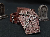 Graveyard coffins, tombstones and accessories (28mm scale)