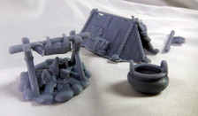 Tent and campfire miniature set
