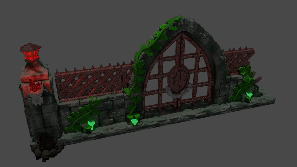 Iron work style 2 from Mystic Pigeons Graveyard wall and scatter terrain set (OpenLOCK compatible)