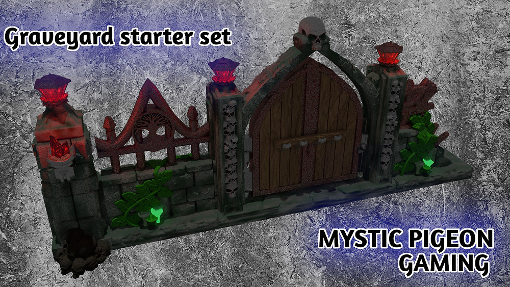 Graveyard wall and scatter terrain set by Mystic Pigeon Gaming (OpenLOCK compatible)