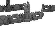 Cyber fortified wall terrain with energy pillars (Wargame terrain)