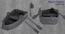 Miniature row boat with oars and lantern pole (28 mm scale)