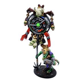 Seraphon proxy, celestial banner bearer lizard person resin miniature.
