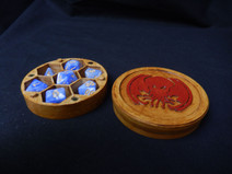 Round dice box with optional minature holder STL files for home printing