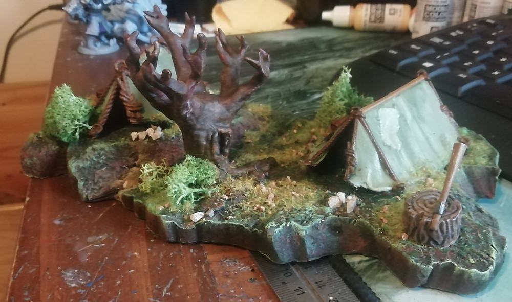Camp site diorama made from scrap and waste materials (By Mystic Pigeon Gaming)