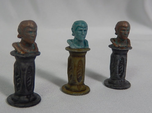Decorative statue busts (28 mm scale for D&D / tabletop games)