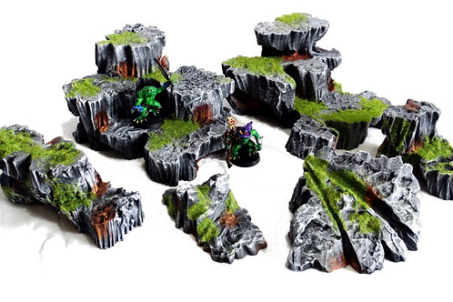Rock scatter terrain (painted, Dungeons and Dragons, Warhammer)