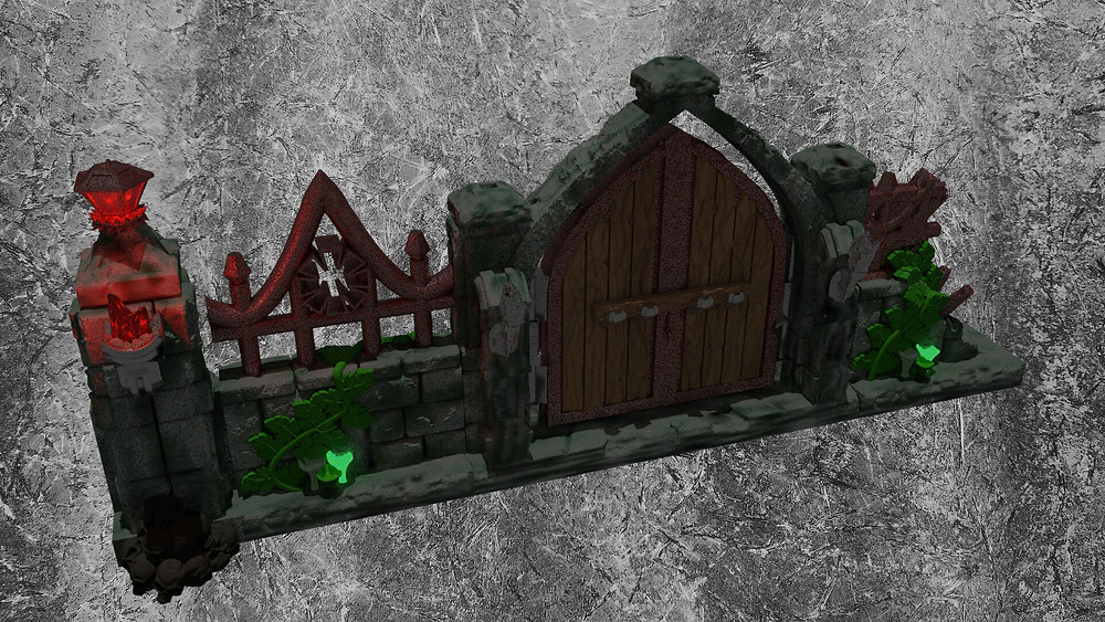 Wall style 2 from Mystic Pigeons Graveyard wall and scatter terrain set (OpenLOCK compatible)