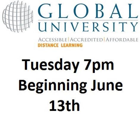 Global University logo and advertisement