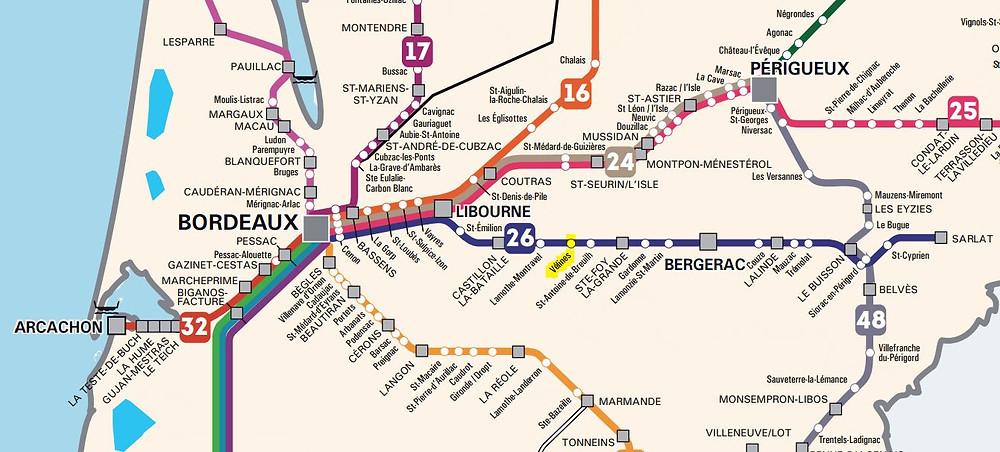 train ligne Bordeaux Bergerac Sarlat idées de visites