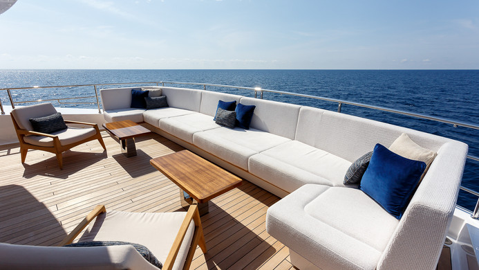 Yacht LADY M - aft deck seating and lounging