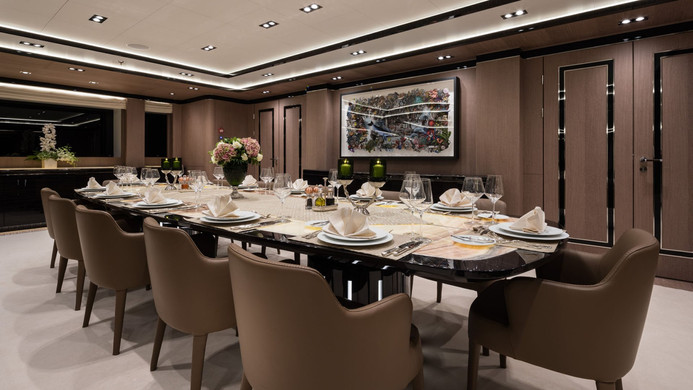 Mega Yacht O'PTASIA - formal dining