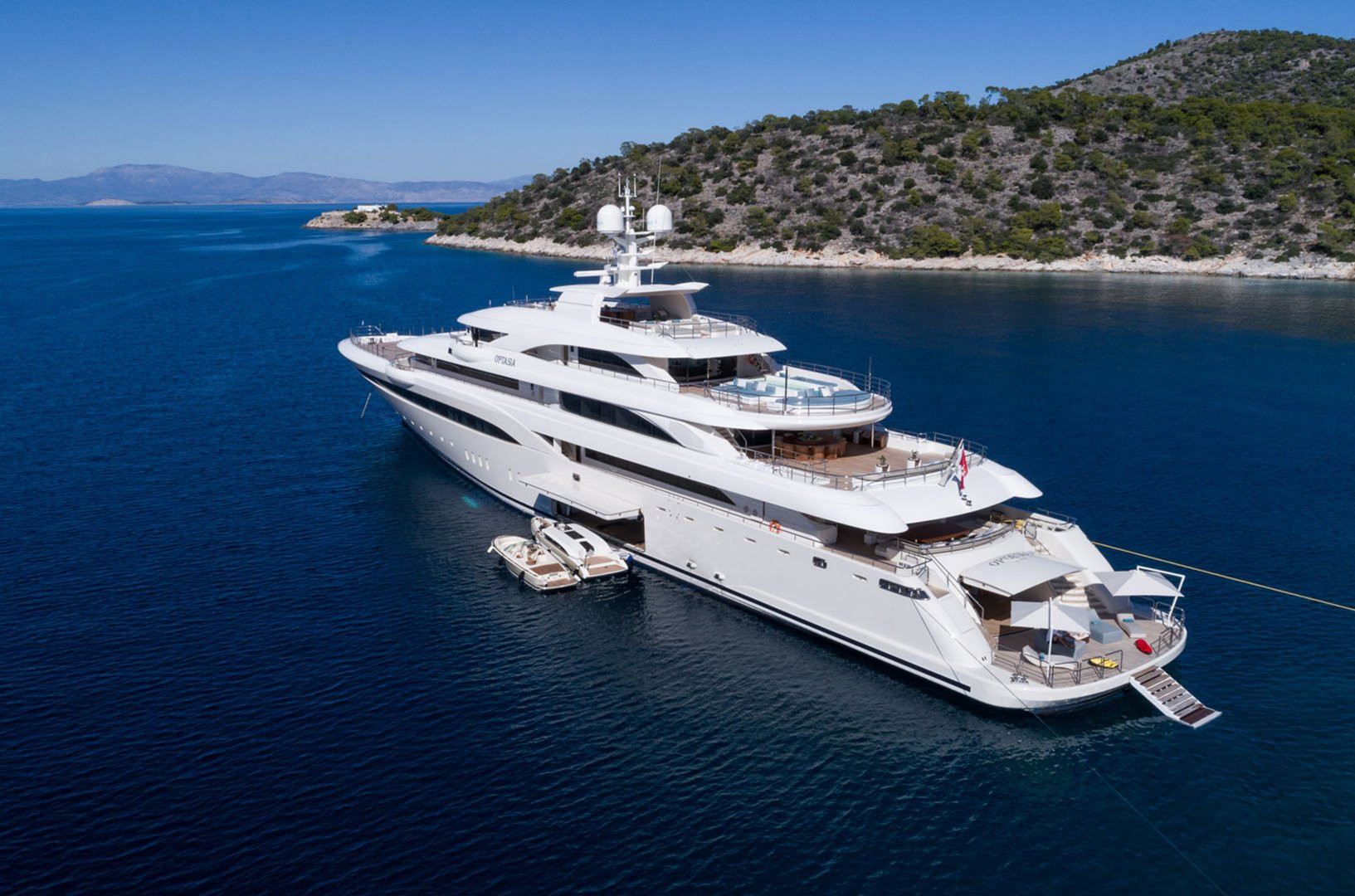 Mega Yacht O'PTASIA - on charter with all the toys and beach club laid out