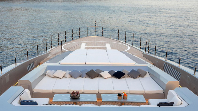 Yacht SARASTAR - foredeck entertaining & lounging, and access to the helipad