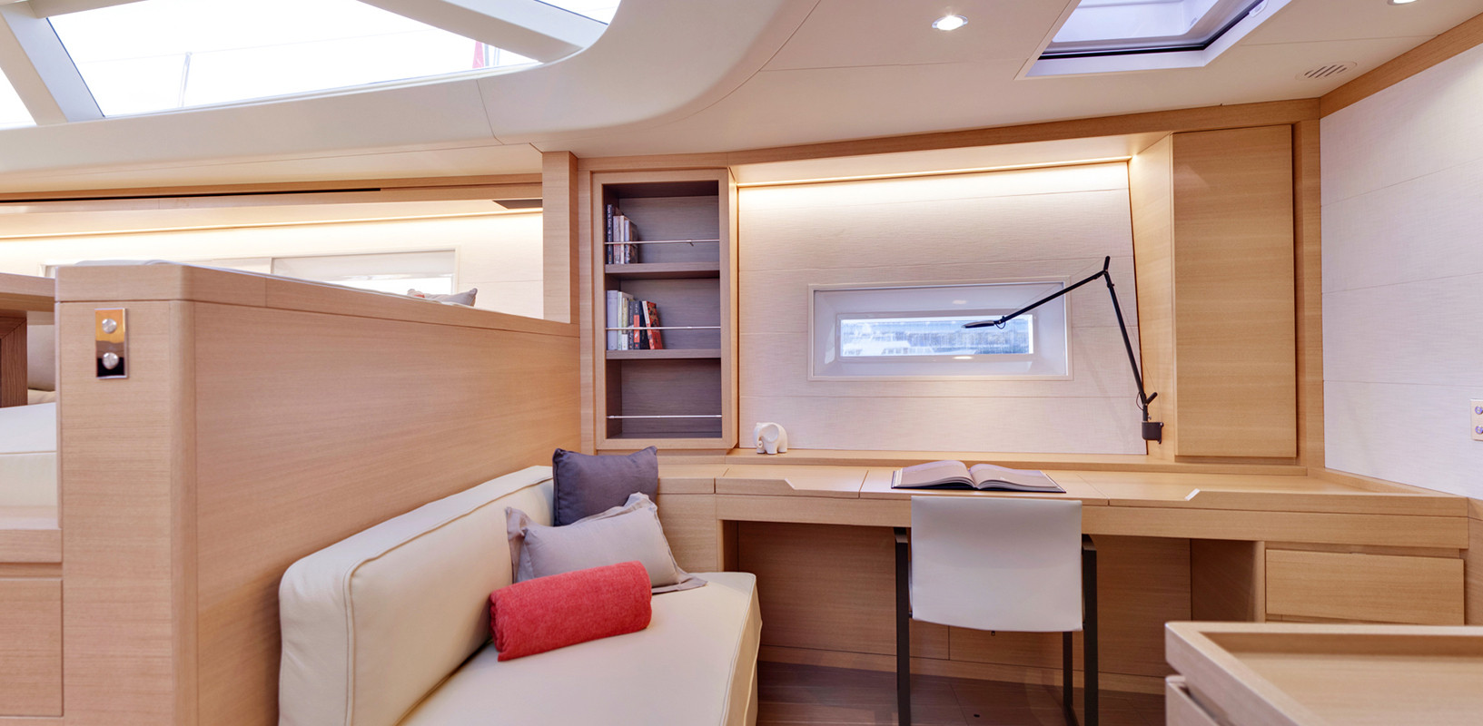Sailing Yacht CROSSBOW - lower saloon and study