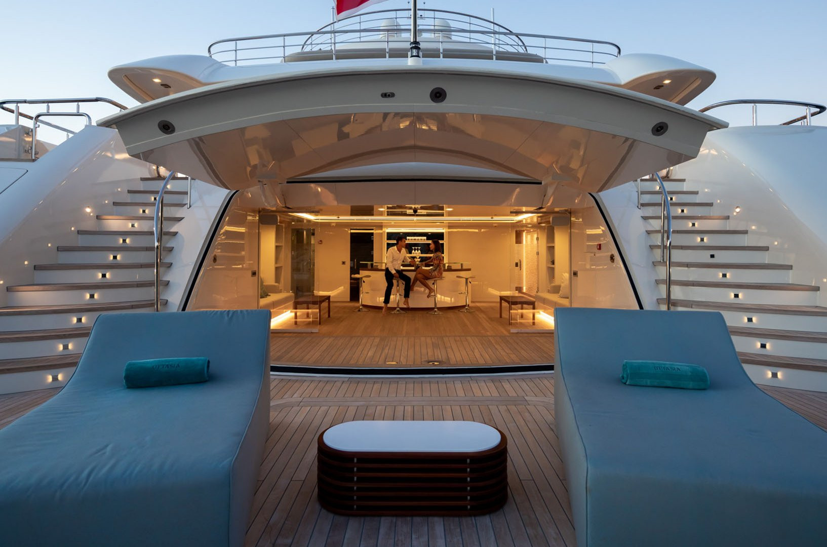 Mega yacht beach club in the evening