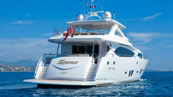 Yacht TUPPENCE at anchor