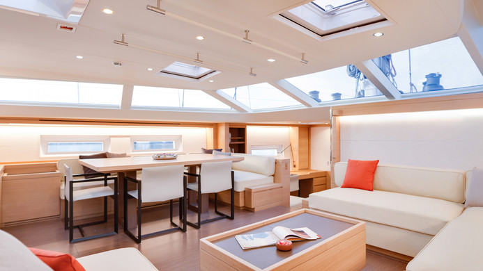 Sailing Yacht CROSSBOW - deck saloon and interior formal dining
