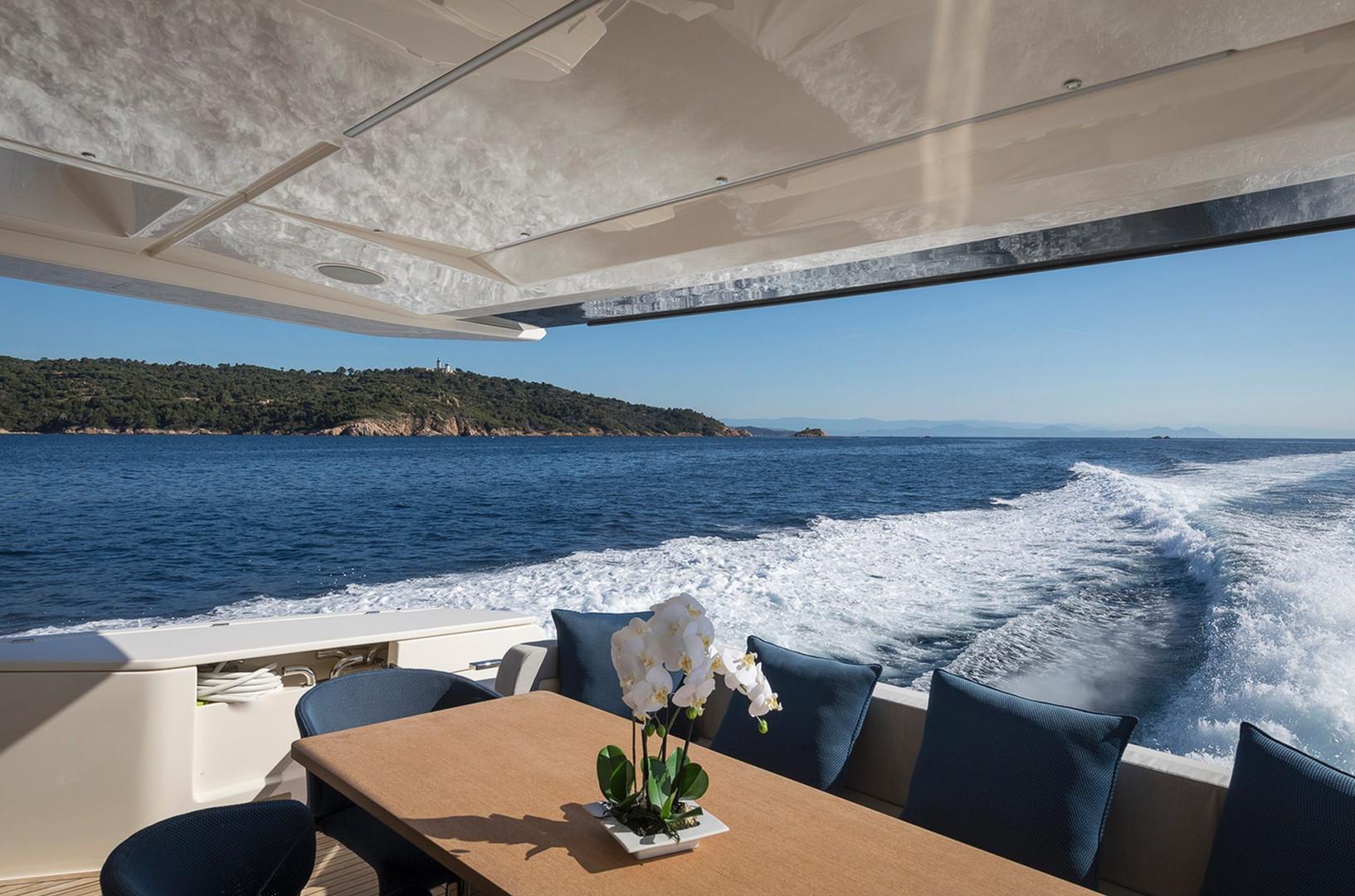 Yacht EPIC - aft deck underway