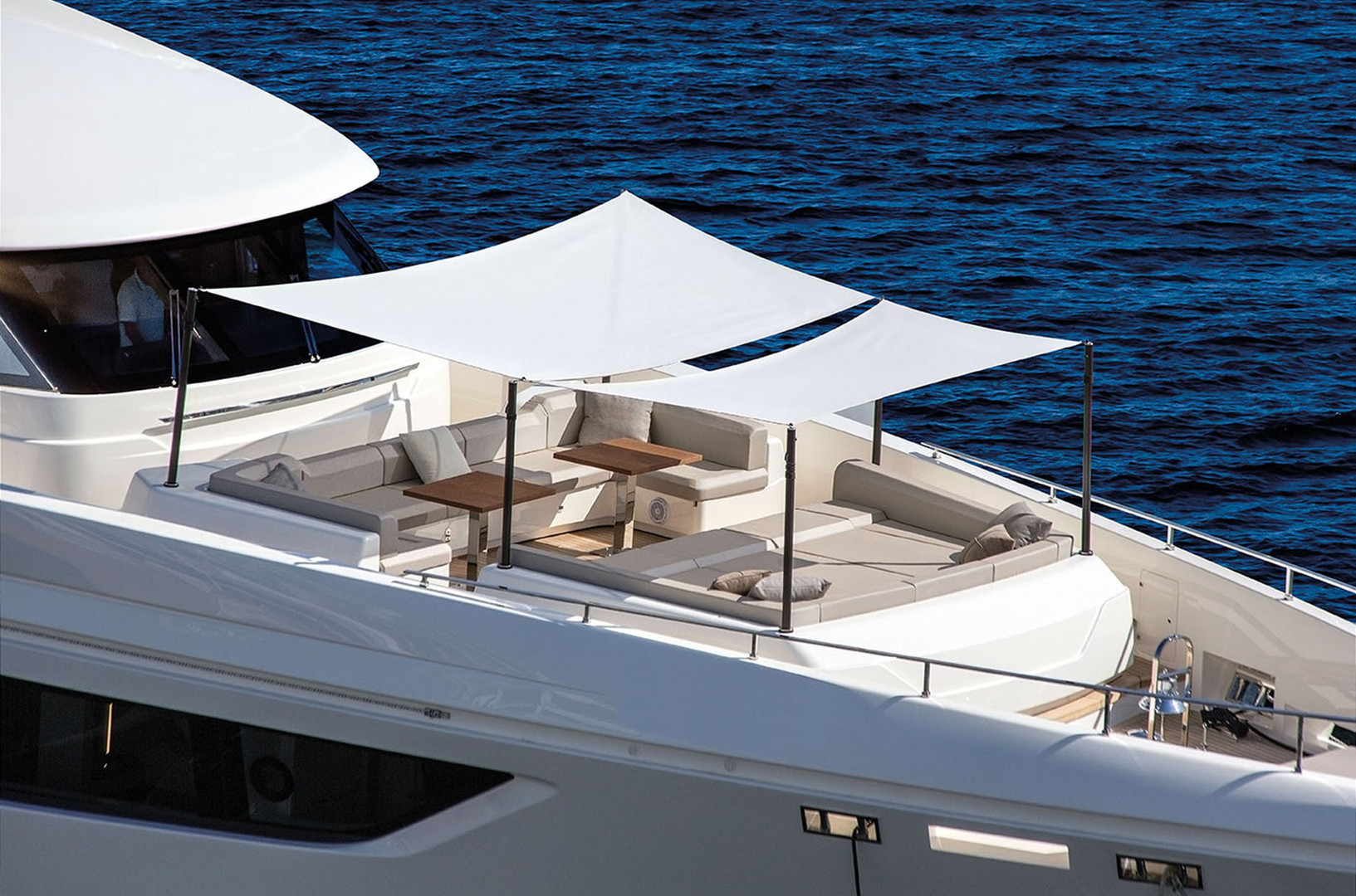 Yacht DECEMBER SIX - superb foredeck seating, lounging and tables. Absolutely ideal for entertaining during charter