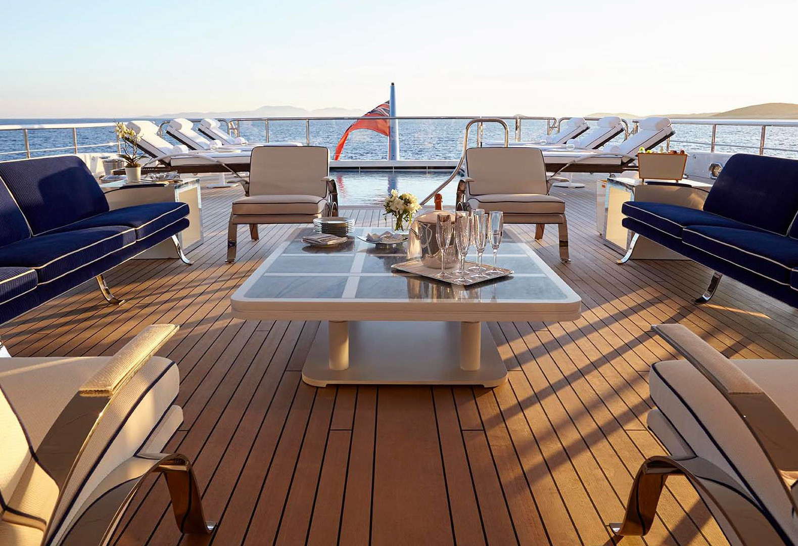 Yacht AQUARIUS - one of the many deck areas for relaxation...