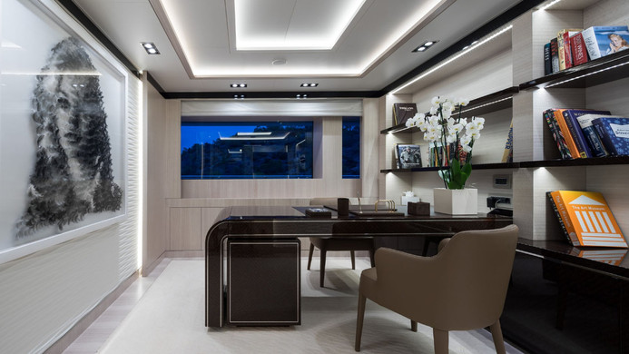 Mega Yacht O'PTASIA - private study, perfect to keep the empire running whilst on charter...