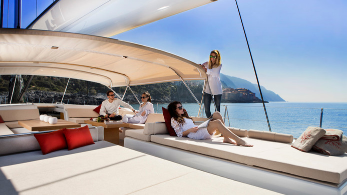 Sailing Yacht CROSSBOW - charter guests relaxing on deck