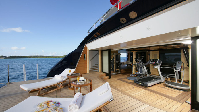 Yacht AMARYLLIS - beach club and gym, an area adored by charter guests