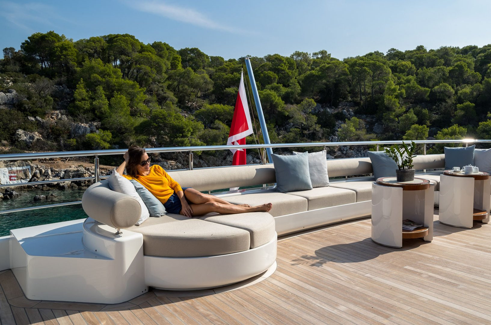 Yacht's aft deck lounging