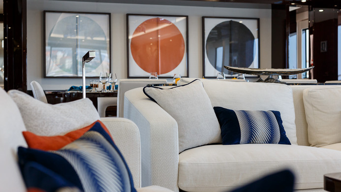 Yacht LADY M - saloon, typical Sunseeker light and contemporary interiors