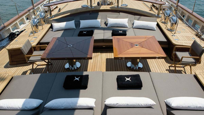 Sailing Yacht ROXANE - where charter guests spend most of their time, superbly laid out for entertaining and relaxing