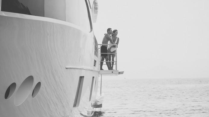 Drop down yacht balcony