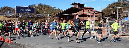 Runners at the starting line of the Lake County Milers 2017 Cache Creek Race.