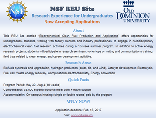 NSF REU Site 2017 is open for applications