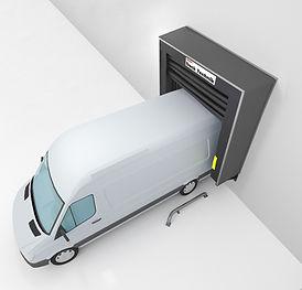 loading bay inflatabkle odck shelter vehicle on the loading bay
