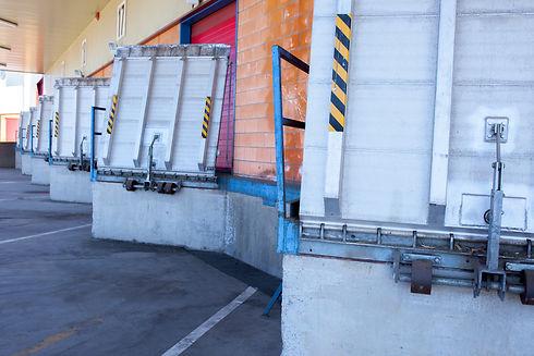 Truck loading docks at commercial buildi