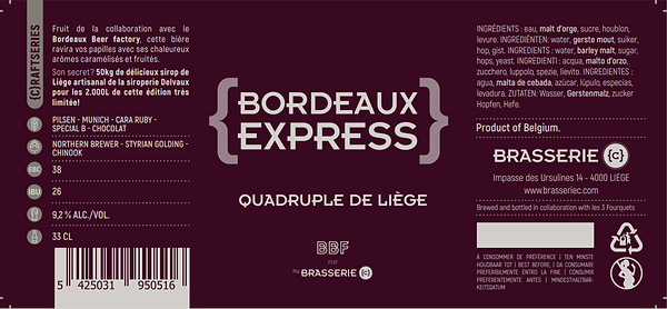 bière artisanale craft collaboration brasserie belge liege Curtius Bordeax Beer Factory BBF Express Quadruple sirop liège