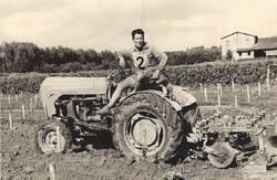 Louis Haverlan sur son tracteur