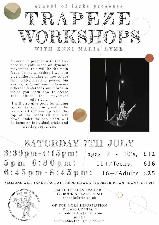 trapeze workshops JULY