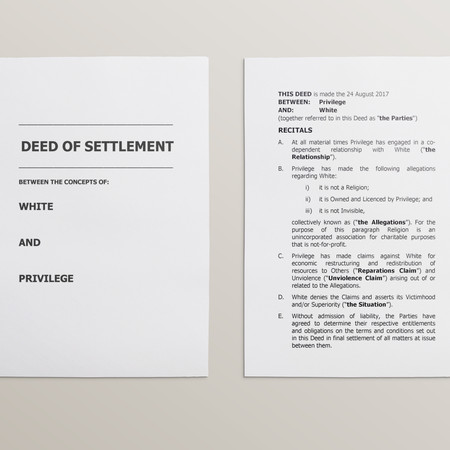 White Privilege Deed of Agreement
