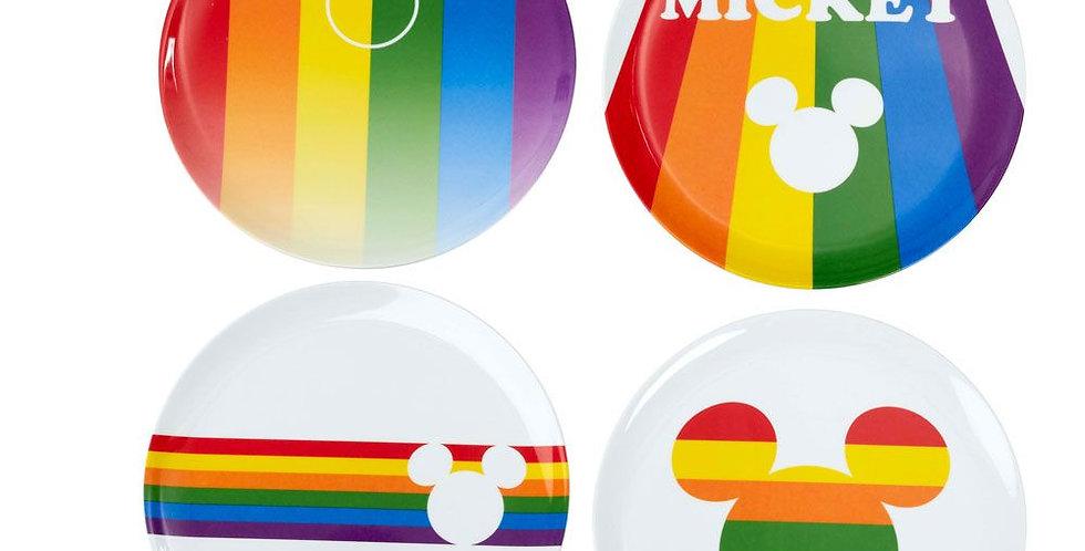 Set de 4 assiettes - Mickey Rainbow